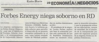 Listín Diario - 06092013 - Forbes Energy niega soborno Wikileaks Felucho