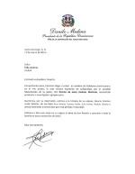 Presidencia de la República envía carta de condolencias a FeluchoJiménez
