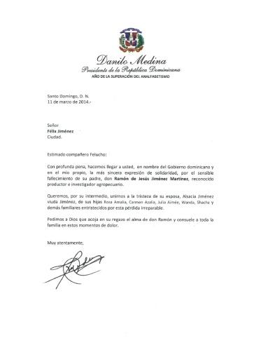 Carta de Condolencia Presidente Medina Felucho Jiménez